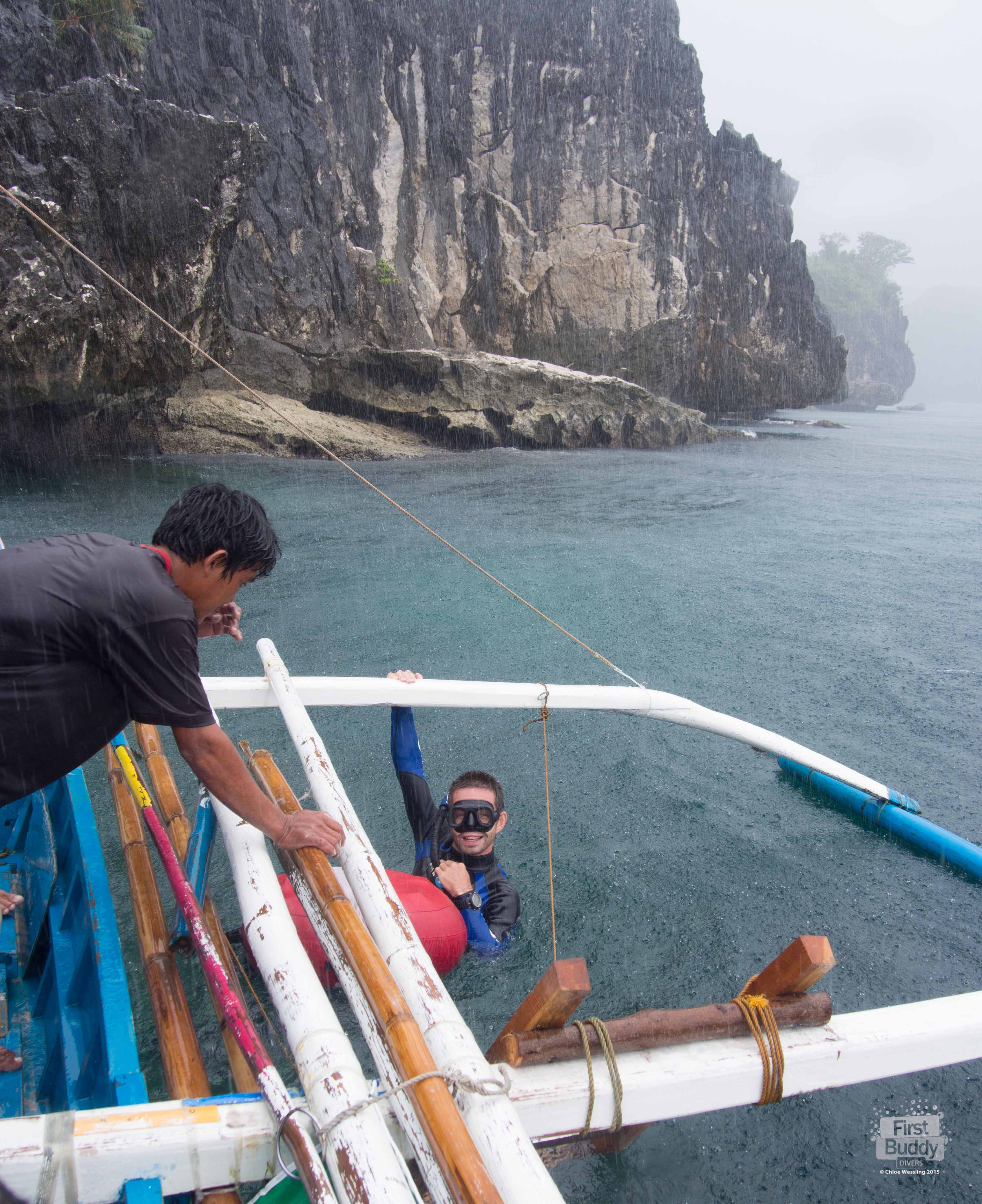 Even on a rainy day the view and the diving is still amazing at the Sheer Wall